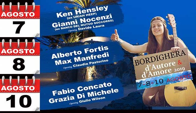 Sesta edizione per la Rassegna d'Autore e d'Amore a Bordighera, dal 7 al 10 agosto