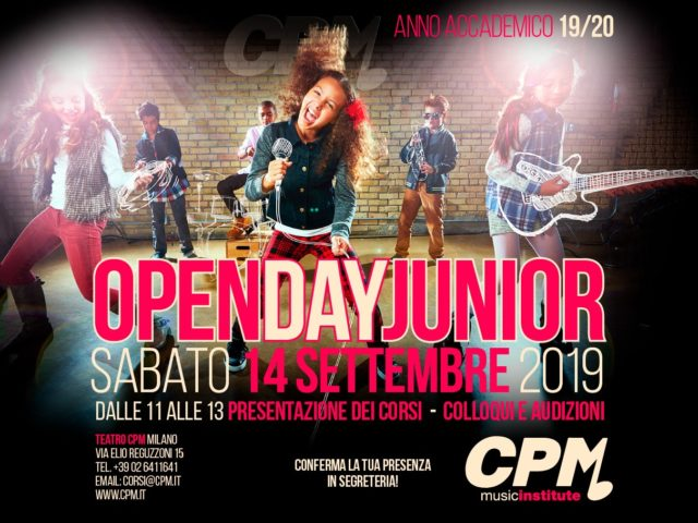 Sabato 14 Settembre l'Open Day Junior al CPM Music Institute di Milano, scuola diretta da Franco Mussida
