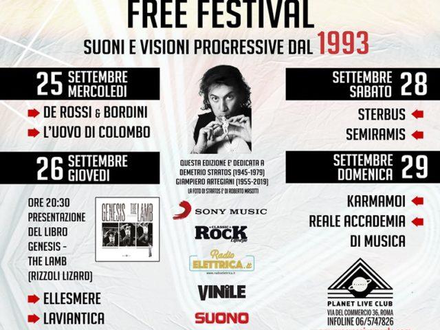 Progressivamente Free Festival 2019 dal 25 al 29 settembre