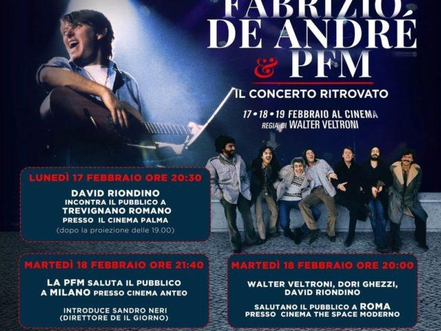Al cinema per vedere il film basato sul concerto di Fabrizio De Andrè e la P.F.M. Premiata Forneria Marconi