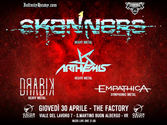 Il 30 Aprile al veronese The Factory concerto heavy metal con headliner gli storici Skanners