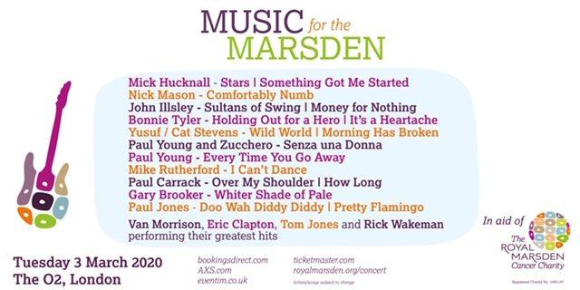 Benefit show a Londra pro The Royal Marsden con Paul Young & Zucchero, John Illsley dei Dire Straits, Mick Hucknall dei Simply Red, Nick Mason dei Pink Floyd…