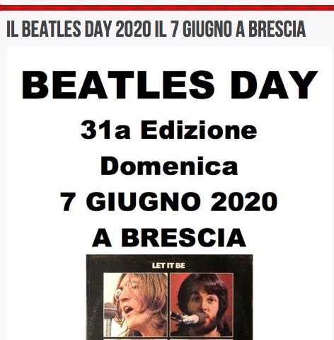La 31esima edizione del Beatles Day confermato a Brescia per Domenica 7 Giugno tramite Facebook ed Instagram