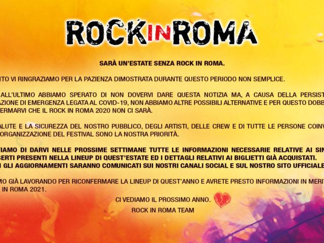 Rock in Roma rinviato al 2021