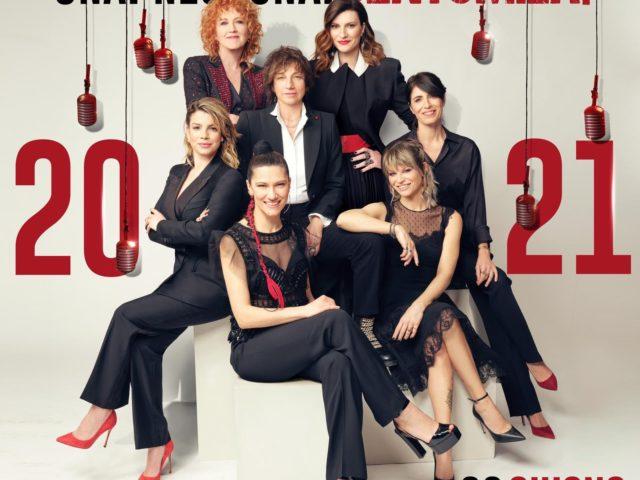 Fiorella Mannoia, Emma, Alessandra Amoroso, Giorgia, Elisa, Gianna Nannini, Laura Pausini per Una.Nessuna.Centomila il 26 Giugno 2021