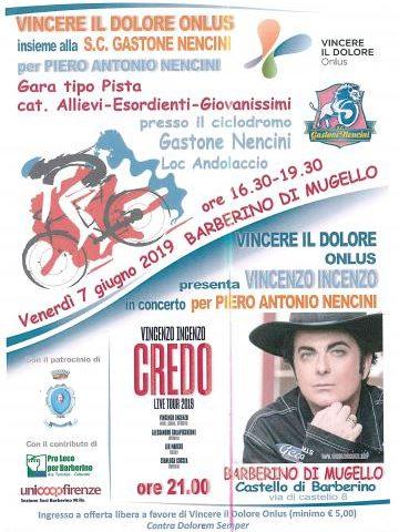 Venerdì 7 Giugno a Barberino di Mugello gara ciclistica e concerto di Vincenzo Incenzo