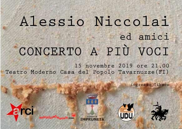 Venerdì 15 Novembre al Teatro Moderno di Tavarnuzze (Firenze) il concerto con le canzoni composte da Alessio Niccolai