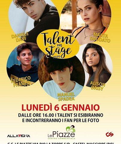 Talent On Stage: il 6 gennaio a Castel Maggiore con Marta Daddato, Davì, Franzo, Spadea e Alison Daisy
