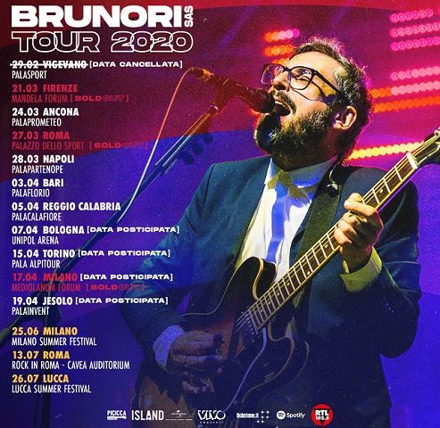Brunori SAS, modifica date tour per emergenza sanitaria