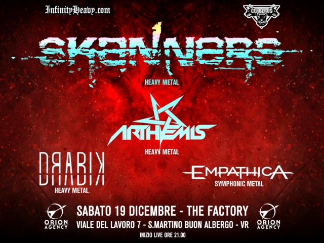 Il concerto veronese con Skanners, Arthemis, Drabik ed Empathica posticipato al 19 Dicembre 2020