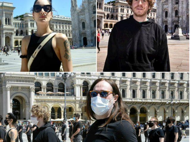Levante, Lodo, Diodato, Manuel Agnelli, Cosmo, Ghemon al flash mob a Milano
