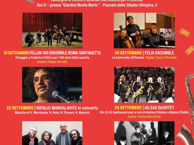 """""""Ciak si suona"""" ai Giardini Montemario di Roma dal 21 al 30 settembre con Servillo, Mangalavite, Coen-Siniscalchi 4tet, Felix Ensemble, Ialsax Quartet e Karipuna Trio"""